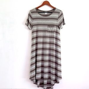 lularoe Gray Striped Gradient Carly High Low Dress